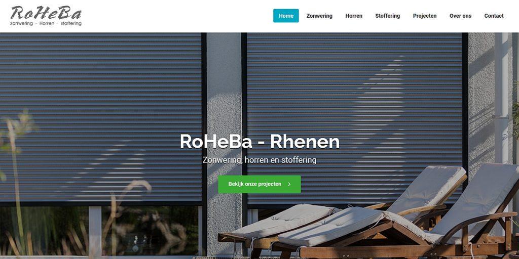 Roheba  zonwering, horren en stoffering website