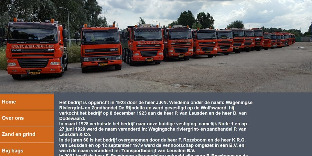 Transportbedrijf van leusden Wageningen website